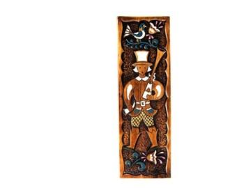 Ceramic Dutch Boy and Blunderbuss Wall Plaque Traditional Dutch Motif Birds and Tulips Treasure Craft 70s Kitsch Decor