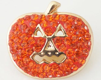 1 PC 18MM Orange Halloween Pumpkin Rhinestone Gold Candy Snap Charm2 KB4375 CC0679