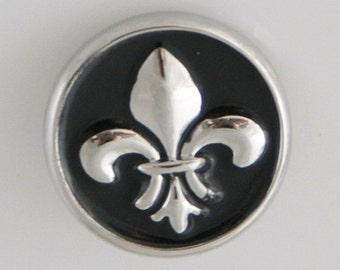 1 PC 18MM Black Enamel Fleur De Lis Silver Candy Snap Charm kb5043 CC0029