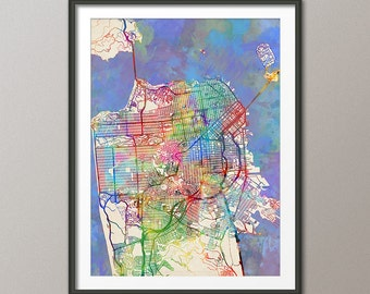 San Francisco Map, San Francisco California City Street Map, Art Print (2070)