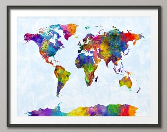 Watercolor Map of the World Map, Art Print (2122)