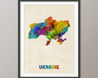 Ukraine Watercolor Map, Art Print (2133)