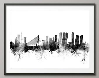 Rotterdam Skyline, Rotterdam The Netherlands Cityscape Holland, Art Print (2136)