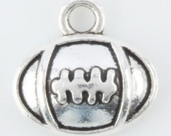 16 Football Charms, Antique Silver 12 x 11 mm. U.S Seller - ts748