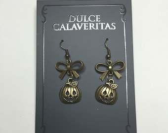 Jack o lantern Pumpkin dangling earrings