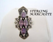 Sterling Amethyst Ring Marcasites 925 Size 8