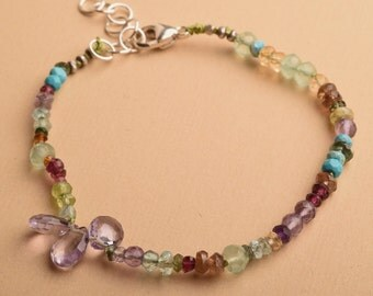 Gemstone Bracelet, Amethyst Bracelet, February Birthstone Bracelet, Healing Gemstone Jewelry, Yoga Bracelet