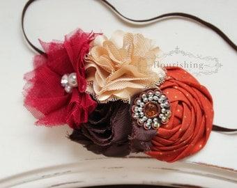 ANOTHER AUTUMN- Fall inspired headbands, Orange and Brown headbands, fall headbands, brown headbands, newborn headbands, photography prop