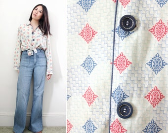 Vintage 1970s Pajama Top Button Down Shirt Geometric Print Buttery Soft  - Fits Sizes Small to Large