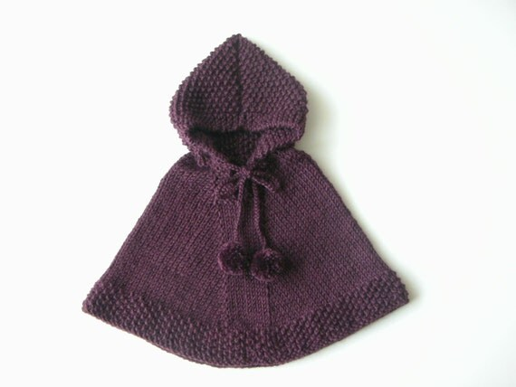 Knitting Pattern For A Little Girl s Cape : Baby Boy Knit Poncho / Little GIrl Alpaca Cape / Purple Toddler Sweater / Bab...