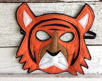 Bengal Tiger Costume - Felt Animal Mask - Wool or Eco Felt - Mask and Tail Costume Gift Set, Kids Tiger Costume