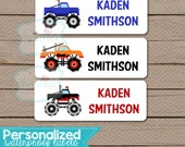 Personalized Waterproof Label Stickers - Boy - monster trucks - Perfect for Bottles, Sippy Cups, Daycare, School - 098