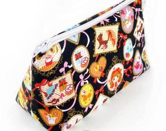 Cosmetic pouch/bag with black picture frame lolita print japanese fabric kawaii harajuku