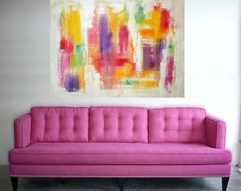Art Paintings - Acrylic, Original Abstract on Canvas in Rainbow Colors by Ora Birenbaum Titled: Show Stopper 2 36x48x1.5""