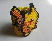 Pikachu Perler Kandi Cuff - Rave - Festival - Ready to ship