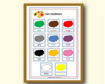 FRENCH COLOUR POSTER,Learn Basic French with School Poster,Colour Display,French Language Classroom Decor,Lesson Plan