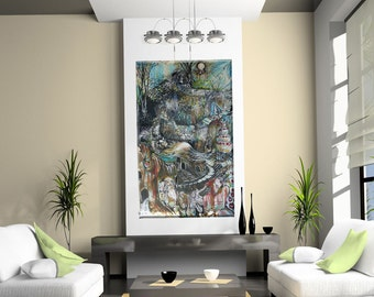 """Original HUGE Abstract Painting -  """"Down The Rabbit Hole"""""""
