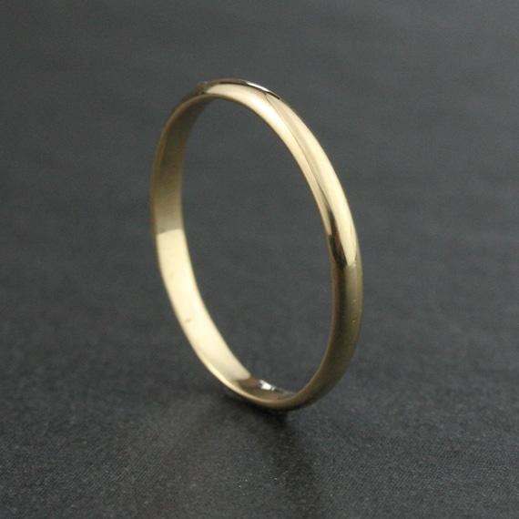 2mm 14k 18k Half Round Wedding Band Ring Yellow By HoardJewelry