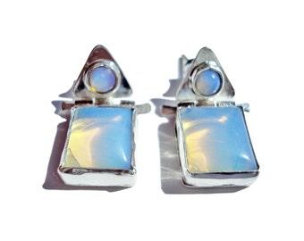 SALE 20%. Silver Earrings. Natural Opal Earrings. Modern Earrings. Small Earrings With Hinges. Geometrical Earrings.