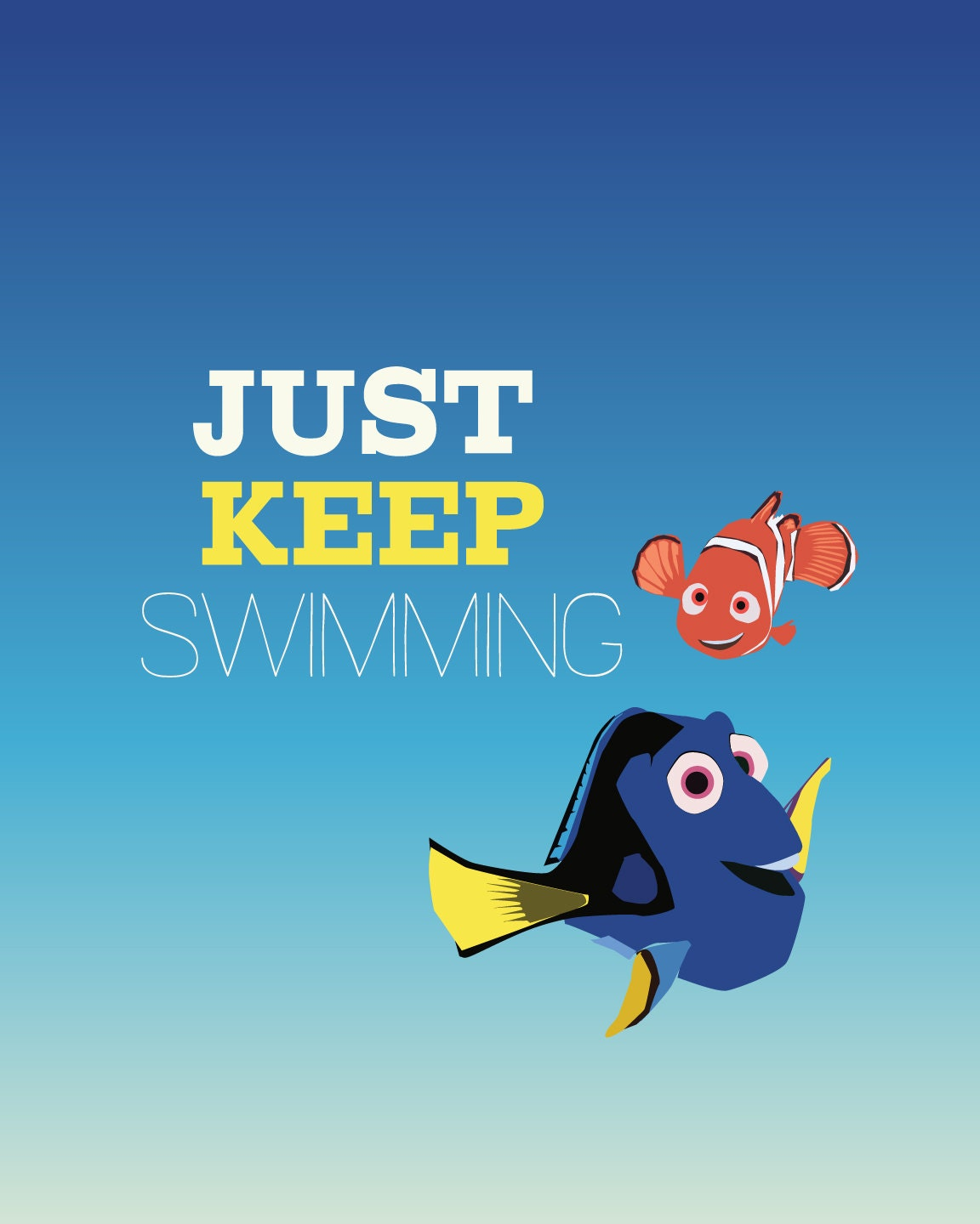"""Finding Nemo """"Just Keep Swimming"""" Gold fish Quilting ... 