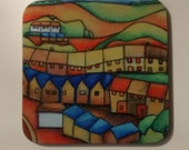 ART coaster Cartoon Streetscape UK From original drawing of Cymru Wales