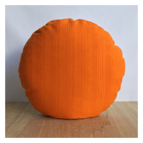 Round Orange Cushion Cover Handmade From Original Vintage 70s Fabric