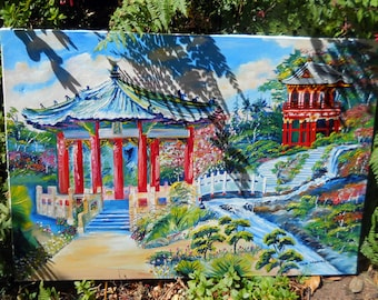 San Francisco Japanese Botanical Gardens, Golden Gate Park, Botanical Gardens, Red Pagoda, Botanical Gardens, Dan Leasure Oil, 25 x 36