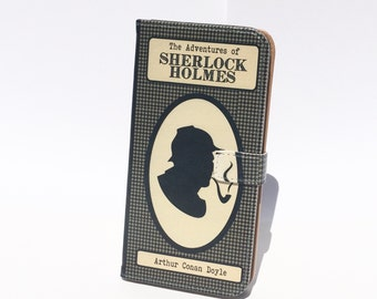 Book phone /iPhone flip Wallet case- Sherlock Holmes for  iPhone X, 8, 7, 6, 5, 6 7 & 8 plus, Samsung Galaxy S8 S7 S6, S5 Note 4 5 7 8, LG