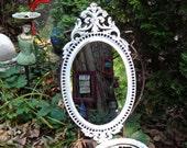 LARGE Oval Mirror, 16 x 31 Baroque Oval Mirror, White Mirror, Regency Decor, Syroco Mirror, Beach Cottage Decor, Baroque Painted Mirror