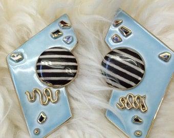RESERVED! 80s new wave porcelain wearable art earrings