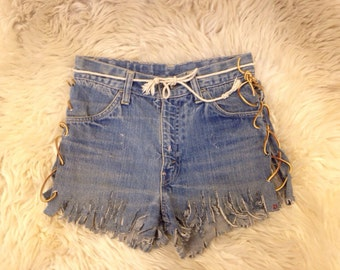 One of a kind hand made Woodstock Era late 1960s Levi's Big E cutoff jean shorts