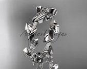 Unique 14kt  white gold  leaf and vine  wedding ring ADLR248B