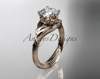 """14kt rose gold diamond flower, leaf and vine wedding ring, engagement ring with a """"Forever One"""" Moissanite center stone ADLR240"""