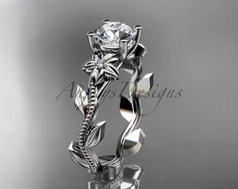 Unique platinum diamond floral wedding ring,engagement ring ADLR223