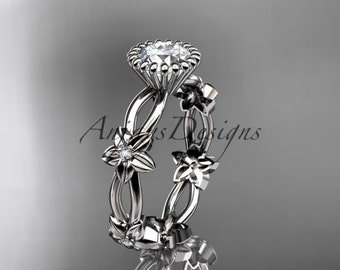 14k white gold diamond leaf and vine wedding ring,engagement ring ADLR19D