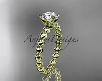 14k yellow gold diamond vine and leaf wedding ring, engagement ring ADLR34