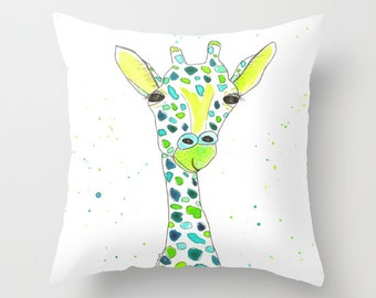 Throw Pillow Cover, Giraffe in Teal, pillow cover, Watercolor, Pen and Ink