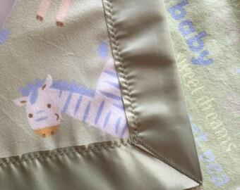 Baby Blanket - Blankie Blanky - giraffe - lion - baby animals - sage green - Minkee - flannel