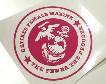Retired Female Marine USMC Decal