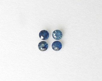 Genuine Blue Sapphire, Round Cut, Lot (4) of 1.00 carat
