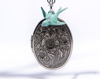 Silver Locket Necklace, Pendant, Photo, Oval, Floral, Bird, Antique, Victorian, Jewelry Gifts for Women