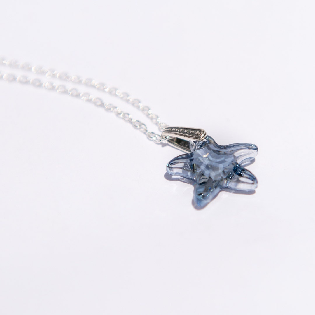 swarovski starfish pendant necklace blue by