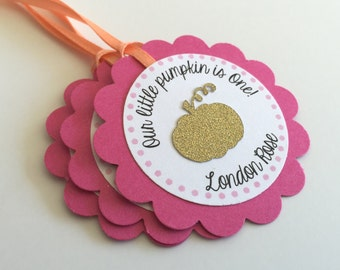 12 Little Pumpkin Themed Personalized Tags.  Hot Pink, Coral and Gold Favor Tags. You Choose Your Colors! Gold Pumpkin. Fall Birthday Party