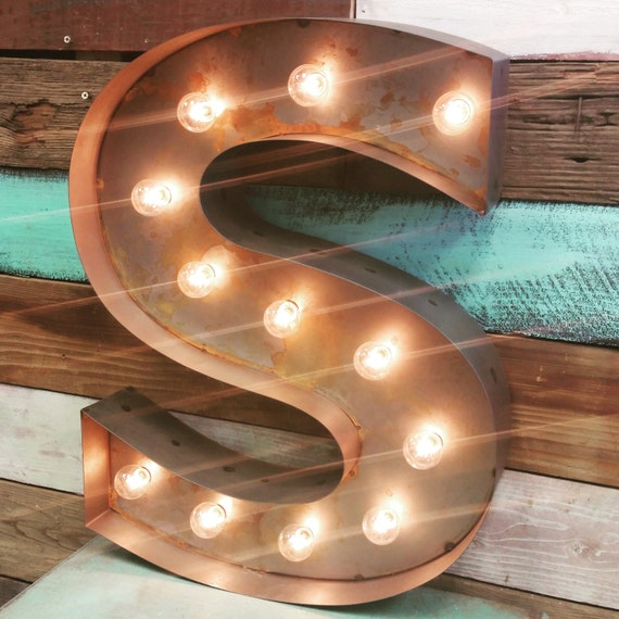 Large old vintage style marquee letters metal by junkartgypsyz for Large vintage marquee letters