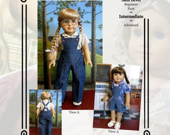 """PDF Pattern KDD19 """"Bibbed Play Suit"""" -An Original KeepersDollyDuds Design, Makes 18"""" Doll Clothes to Fits American Girl"""