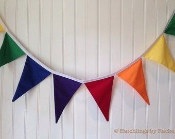 RAINBOW FABRIC BUNTING -- solid pennant fabric flag banner -- birthday bunting -- party pennant garland -- classroom bunting -- 9 feet