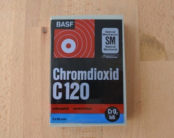 BASF Blank Audio Cassette Chromdioxid C120 Made in Germany New & Sealed Vintage