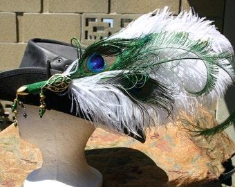 Feather Pirate Hat clip fascinator Renaissance Faire, Steampunk, Victorian, Green white