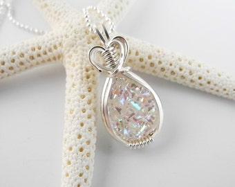 Opalescent White Druzy Necklace, Sterling Wire Wrap, Bridal Necklace, Wedding Necklace, Druzy Pendant, Bridal Pendant, Quartz Druzy