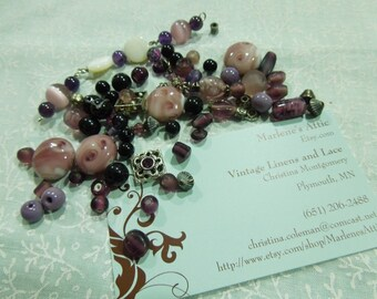Lot of Assorted Pink and Purple Beads for jewelry, bracelet, necklaces, earrings by MarlenesAttic